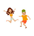 set of teenagers in casual clothing dances vector image