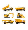 Set of the construction machinery vehicles