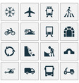 shipment icons set with dangerous bike tunnel vector image