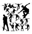 skater playing skateboard silhouettes vector image