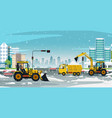 snow removal on road vector image