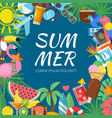 summer background with various travel pictures and vector image vector image