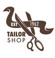 tailor shop hand drawn sketch logo with scissors vector image vector image
