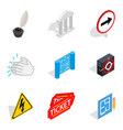 theatre icons set isometric style vector image vector image
