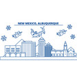 usa new mexico albuquerque winter city skyline vector image vector image