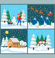 winter holidays santa claus with deers and family vector image vector image