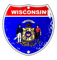 wisconsin flag icons as interstate sign vector image vector image