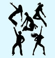 young beautiful dancer silhouette vector image vector image