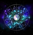 zodiac circle with astrology symbols in neon style vector image
