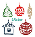 christmas tree toys isolated color art icon vector image