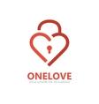 Red heart lock logo vector image