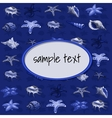 Creatures of sea clams on a dark blue background vector image
