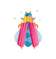 abstract icon of flying beetle with pink and blue vector image vector image