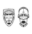 african masks savages engraving style vector image
