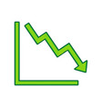 arrow pointing downwards showing crisis vector image vector image