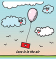 balloon with love letter vector image vector image