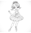 Beautiful little ballerina girl tiara outlined vector image vector image