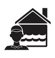 black silhouette plumber with flooded house icon vector image