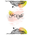 calligraphy save date watercolor vector image vector image
