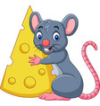cartoon mouse holding a big slice of cheese vector image vector image