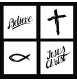Christian symbols Cross made by hand Believe vector image vector image