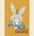 christmas poster with bunny vector image vector image