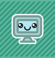 cute smiling kawaii computer office monitor cartoo vector image vector image