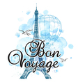 Eiffel Tower and air balloon vector image