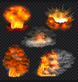 explosion isolated set realistic style vector image