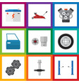 flat auto set of automobile part belt tire and vector image vector image