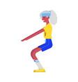 flat elderly black woman in sportsuit squat vector image vector image