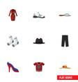 flat icon clothes set of panama elegant headgear vector image vector image
