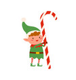 funny tiny elf in green costume holding huge vector image vector image