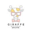 giraffe logo template original design cute funny vector image