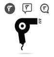 hairdryer icon set in black vector image