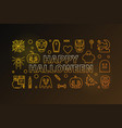 happy halloween colored outline horizontal vector image vector image