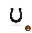 Horseshoe black simple silhouette sign with six vector image vector image