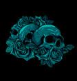 human skulls bouquet flowers vector image vector image