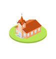 isometric church icon for web design and vector image