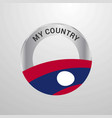 laos my country flag badge vector image