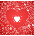 love and hearts doodles background vector image vector image