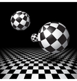 Magic balls over the checkered floor vector image vector image