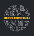 merry christmas round outline concept vector image