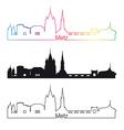 Metz skyline linear style with rainbow vector image vector image