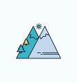 mountains nature outdoor sun hiking flat icon vector image