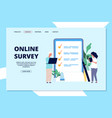 online survey landing page choice list quality vector image vector image