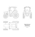 outline blueprint tractor side front top view vector image vector image