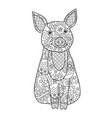 pig simbol of new year 2019 in zentangle inspired vector image