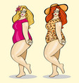 plump girl cute chubby summer girl sexy vector image