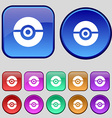 pokeball icon sign A set of twelve vintage buttons vector image